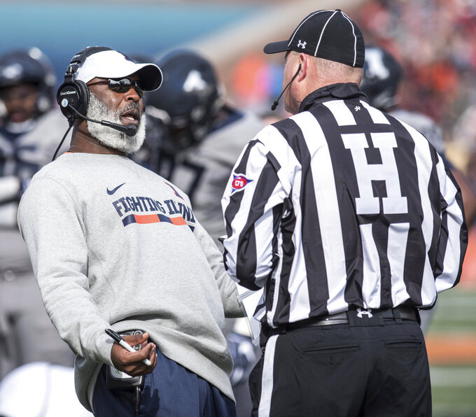 Illinois head coach Lovie Smith reacts to Purdue making a first down in the first half of a college NCAA football game, Saturday, Oct. 13, 2018, in Champaign, Ill. (AP Photo/Holly Hart)