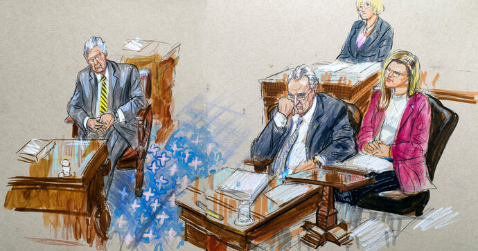 This artist sketch depicts Senate Majority Leader Mitch McConnell, R-Ky., left, and Senate Minority Leader Chuck Schumer, D-N.Y., right, listening to defense arguments in the impeachment trial of President Donald Trump on charges of abuse of power and obstruction of Congress, at the Capitol in Washington, Monday, Jan. 27, 2020. (Dana Verkouteren via AP)