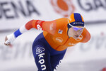 Carlijn Achtereekte, of the Netherlands, competes during the women's 3,000 meters at the world single distances speedskating championships Thursday, Feb. 13, 2020, in Kearns, Utah. (AP Photo/Rick Bowmer)