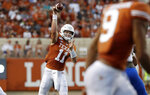 Texas quarterback Sam Ehlinger (11) throws against Louisiana Tech during the first half of an NCAA college football game, Saturday, Aug. 31, 2019, in Austin, Texas. (AP Photo/Eric Gay)