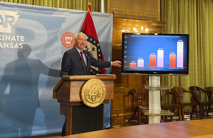 Arkansas Gov. Asa Hutchinson stands next to a chart displaying COVID-19 hospitalization data as he speaks at a news conference at the state Capitol in Little Rock, Ark., Thursday, July 29, 2021. Hutchinson announced he was calling a special session to take up a proposal to lift the state's ban on face mask mandates in public schools. (AP Photo/Andrew DeMillo)