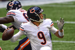 FILE - In this Sept. 27, 2020, file photo, Chicago Bears quarterback Nick Foles throws during the second half of the team's NFL football game against the Atlanta Falcons in Atlanta. Foles brought the Bears back to a win against the Falcons. The Bears host the Indianapolis Colts this week. (AP Photo/Danny Karnik)