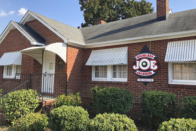 In this Sept. 29, 2019, photo, the Shoeless Joe Jackson Museum is shown in Greenville, S.C. (AP Photo/Paul Newberry)