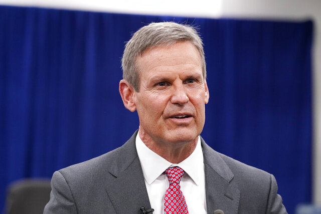 "FILE - In this Nov. 10, 2020, file photo, Tennessee Gov. Bill Lee speaks with reporters in Nashville, Tenn. A federal appeals court ruled Friday, Nov. 20, 2020, that Tennessee can begin outlawing abortions because of a prenatal diagnosis of Down syndrome, as well prohibit the procedure if it is based on the race or gender of the fetus. Earlier this year, Lee enacted the so-called ""reason bans"" as part of a sweeping anti-abortion measure that he signed earlier this year. (AP Photo/Mark Humphrey, File)"