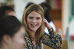 Jenna Bush Hager talks with students at Can Giuoc high school in Long An province, Vietnam Monday, Dec. 9, 2019. Bush Hager is accompanying U.S. former first lady Michelle Obama on a trip to Vietnam to promote education for adolescent girls. (AP Photo/Hau Dinh)
