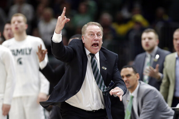 Michigan State head coach Tom Izzo reacts during the second half of an NCAA college basketball championship game against Michigan in the Big Ten Conference tournament, Sunday, March 17, 2019, in Chicago. (AP Photo/Kiichiro Sato)