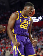 LSU forward Darius Days (22) reacts after scoring against Georgia during the first half of an NCAA college basketball game Saturday, Feb. 16, 2019, in Athens, Ga. (AP Photo/John Bazemore)