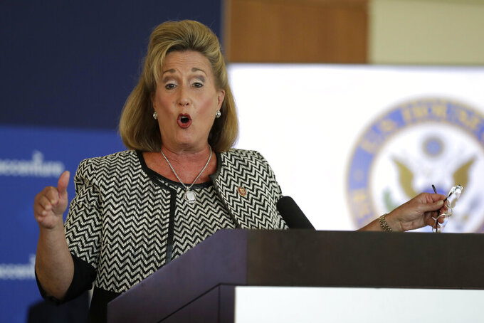 FILE - In this June 23, 2020 photo, Rep. Ann Wagner, R-Mo., speaks during a news conference in Town and Country, Mo. Wagner of Missouri's 2nd District is facing a challenge from Democratic state Sen. Jill Schupp. (AP Photo/Jeff Roberson, File)