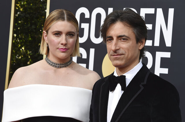 FILE - This Jan. 5, 2020 file photo shows director Greta Gerwig, left, and Noah Baumbach at the 77th annual Golden Globe Awards in Beverly Hills, Calif. Both Gerwig and Baumback failed to receive Oscar nominations for best director for their film