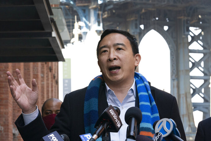 FILE - In this March 11, 2021 file photo, Democratic mayoral candidate Andrew Yang holds a news conference in the Dumbo neighborhood of New York. Yang, a businessman who gained fame during his quixotic 2020 presidential run, is a leading contender for the Democratic mayoral nomination. (AP Photo/Mark Lennihan, File)