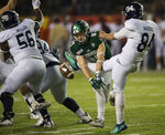 Eastern Michigan wide receiver Mathew Sexton (87) blocks a punt during the Camellia Bowl  NCAA college football game  in Montgomery, Ala., on Saturday, Dec. 15, 2018. (Jake Crandall/The Montgomery Advertiser via AP)