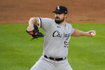 Chicago White Sox's Carlos Rodon winds up during the first inning of the team's baseball game against the New York Yankees on Friday, May 21, 2021, in New York. (AP Photo/Frank Franklin II)