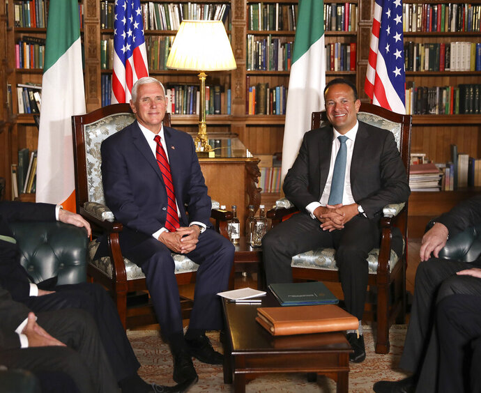 US Vice President Mike Pence meets with Irish Prime Minister Minister Leo Varadkar at Farmleigh House, Dublin, Ireland, Tuesday, Sept. 3, 2019. The Vice President is currently in Ireland for a two day visit. (AP Photo/Peter Morrison)