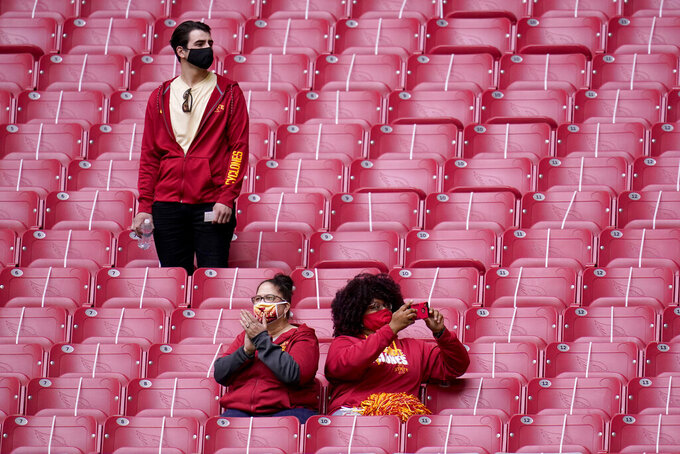 Iowa State fans watch during the first half of the Fiesta Bowl NCAA college football game against Oregon, Saturday, Jan. 2, 2021, in Glendale, Ariz. (AP Photo/Ross D. Franklin)