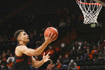 FILE - In this March 5, 2020, file photo, Stanford's Oscar da Silva drives to the basket during the first half of an NCAA college basketball game against Oregon State in Corvallis, Ore. Oscar da Silva will lead a young Cardinal team and take on the bulk of the scoring load. The junior forward from Munich, Germany, led Stanford in scoring and rebounding last season, averaging 15.7 points and 6.4 rebounds. (AP Photo/Amanda Loman, File)