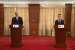 U.S. Deputy Secretary of State Stephen Biegun, left, and South Korea's First Vice Foreign Minister Cho Sei-young attend a news briefing after their meeting at the foreign ministry in Seoul Wednesday, July 8, 2020. Biegun is in Seoul to hold talks with South Korean officials about allied cooperation on issues including North Korea. (Chung Sung-jun/Pool Photo via AP)