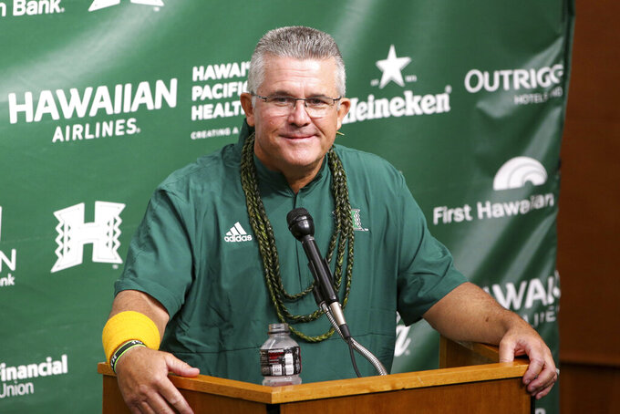 Hawaii head coach Todd Graham answers questions following the NCAA college football game against Portland State, Saturday, Sept. 4, 2021, in Honolulu. (AP Photo/Darryl Oumi)