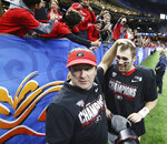 Georgia head coach Kriby Smart and quarterback Jake Fromm celebrate the team's 26-14 victory over Baylor in the Sugar Bowl NCAA college football game Wednesday, Jan. 1, 2020, in New Orleans. (Curtis Compton/Atlanta Journal-Constitution via AP)