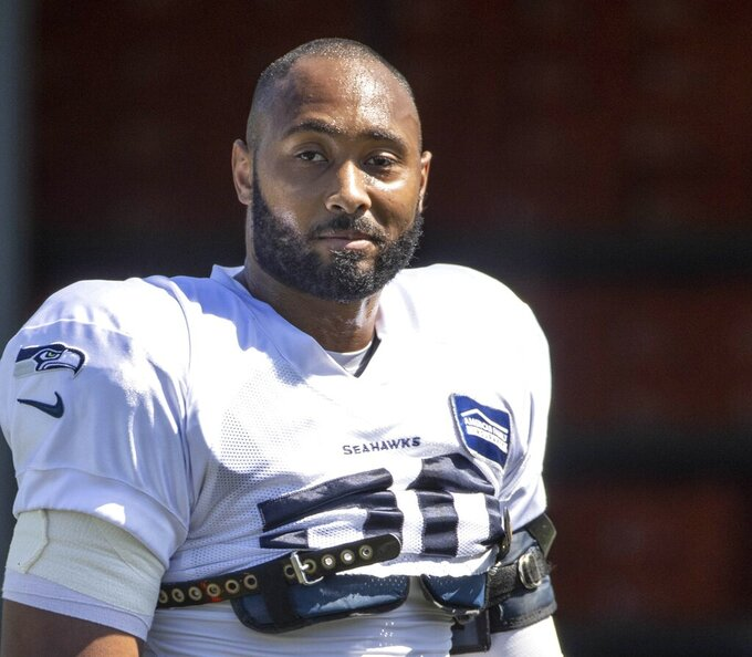 Seattle linebacker K.J. Wright during practice Tuesday. The Seattle Seahawks practice in Renton, Wash., Tuesday, Aug. 18, 2020. (Dean Rutz/The Seattle Times via AP)