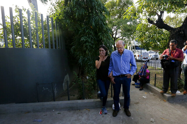 FILE - In this Dec. 17, 2018 file photo, Carlos Fernando Chamorro arrives outside Central Courts in Managua, Nicaragua. Chamorro has returned to the Nicaragua after nearly a year in exile in Costa Rica. Chamorro fled in January, a month after police raided and occupied his news outlets' offices. (AP Photo/Alfredo Zuniga, File)