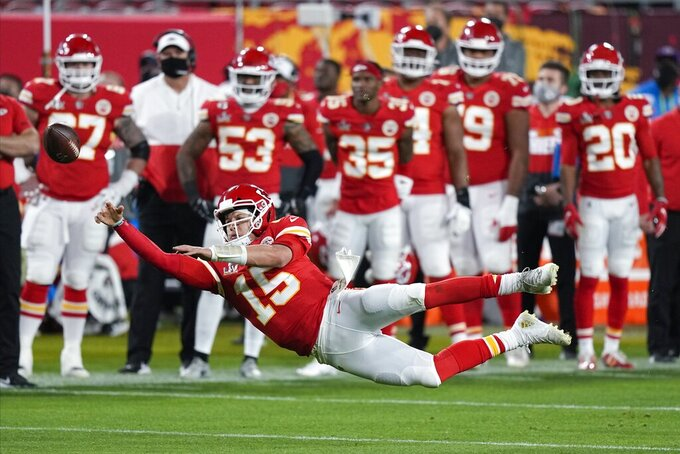 Kansas City Chiefs quarterback Patrick Mahomes passes against the Tampa Bay Buccaneers during the second half of the NFL Super Bowl 55 football game Sunday, Feb. 7, 2021, in Tampa, Fla. (AP Photo/David J. Phillip)