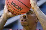 Virginia Tech's guard Ty Outlaw shoots during practice at the NCAA men's college basketball tournament in Washington, Thursday, March 28, 2019. Virginia Tech plays Duke in an East Regional semifinal game on Friday. (AP Photo/Alex Brandon)