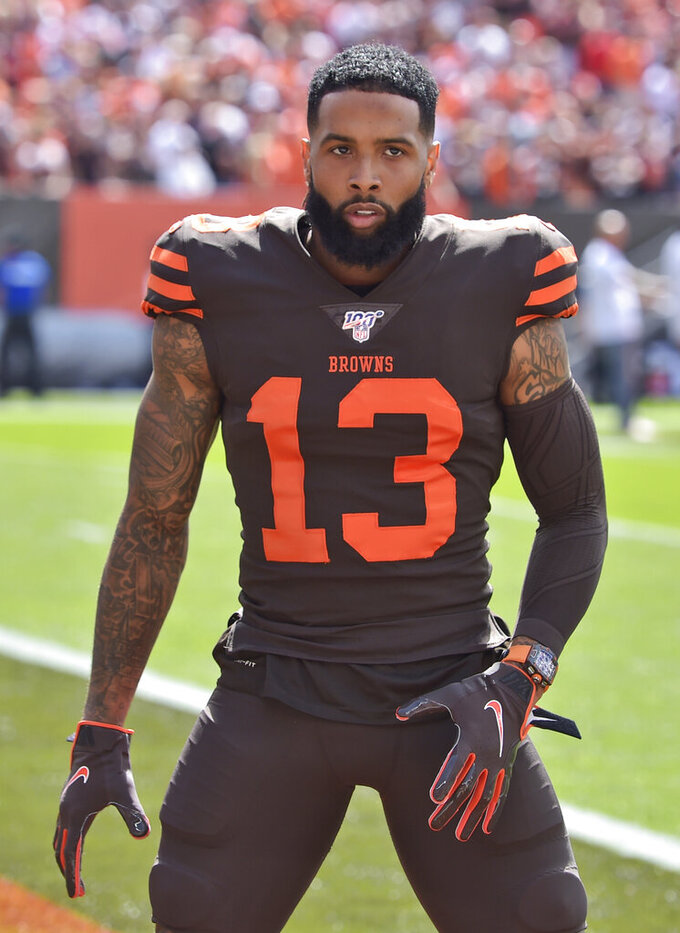 Cleveland Browns wide receiver Odell Beckham Jr. is shown before an NFL football game against the Tennessee Titans, Sunday, Sept. 8, 2019, in Cleveland. The flashy, fashionable wide receiver sported an expensive watch, worth over $250,000, during his debut Sunday. The NFL plans to speak with Browns star Odell Beckham Jr. about wearing a watch in games. (AP Photo/David Richard)