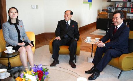 Lee Nak-yeon, Kim Yo Jong, Kim Yong Nam