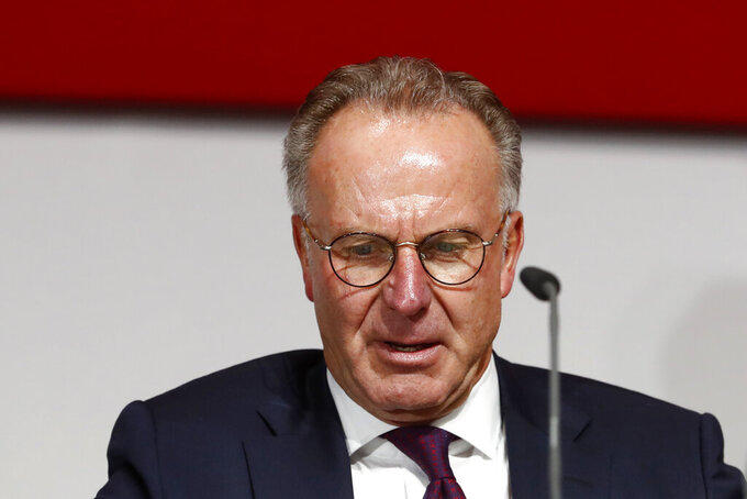 "FILE - In this Friday, Nov. 30, 2018 file photo, CEO Karl-Heinz Rummenigge arrives for the annual general meeting of FC Bayern Munich soccer club in Munich, Germany. Bayern Munich chairman Karl-Heinz Rummenigge on Monday, July 27, 2020 said UEFA ""didn't do a great job"" investigating Manchester City after the English club's two-year ban from European competitions was overturned. AP Photo/Matthias Schrader, file)"