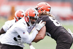 Cleveland Browns defensive end Myles Garrett, left, works against tight end Connor Davis during an NFL football practice at the team's training facility Wednesday, June 2, 2021, in Berea, Ohio. (AP Photo/Ron Schwane)
