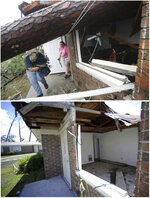 In this combination of photos, a damaged home is shown on Oct. 10, 2019, top, in the aftermath of Hurricane Michael in Panama City, Fla., and the same location on May 1, 2019. (AP Photos)