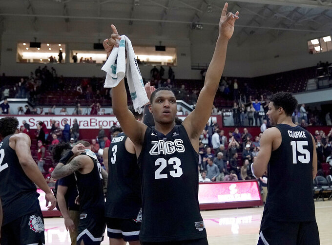 Gonzaga guard Zach Norvell Jr. (23) celebrates the team's 98-39 victory over Santa Clara in an NCAA college basketball game Thursday, Jan. 24, 2019, in Santa Clara, Calif. (AP Photo/Tony Avelar)