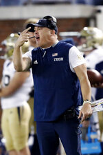 Georgia Tech head coach Geoff Collins yells from the sideline in the second half of an NCAA football game against Virginia Tech Saturday, Nov. 16, 2019, in Atlanta. (AP Photo/John Bazemore)