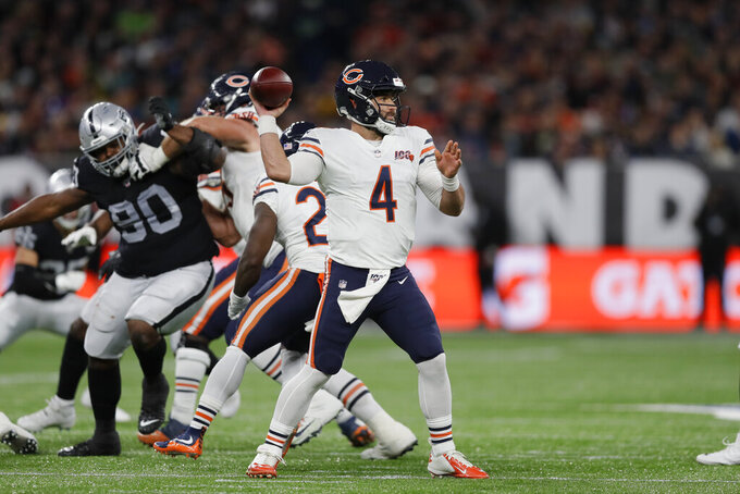 Chicago Bears quarterback Chase Daniel (4) prepares to throw during the second half of an NFL football game against the Oakland Raiders at Tottenham Hotspur Stadium, Sunday, Oct. 6, 2019, in London. (AP Photo/Kirsty Wigglesworth)