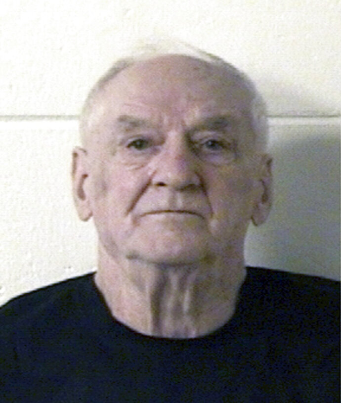 FILE - In this March 22, 2019, file booking photo, provided by the Marinette County Jail is Raymand Vannieuwenhoven. A judge ordered another competency exam Monday, Sept. 21, 2020, for Vannieuwenhoven, an 83-year-old man charged with killing a couple in a northeastern Wisconsin park in 1976.(Marinette County Jail via AP, File)