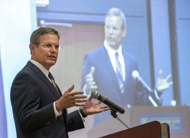 """FILE - In this Sept. 10, 2019 file photo, Tennessee Governor Bill Lee speaks during the Northeast Tennessee and Southwest Virginia Regional Economic Forum, hosted by East Tennessee State University, in Johnson City, Tenn.  In a recent interview with The Associated Press, Lee said he knew the most difficult decision he'd face as governor would be weighing the fate of an inmate's life. His faith remains central to his views, he said, but he maintains that the death penalty is """"appropriate for those most heinous of crimes."""