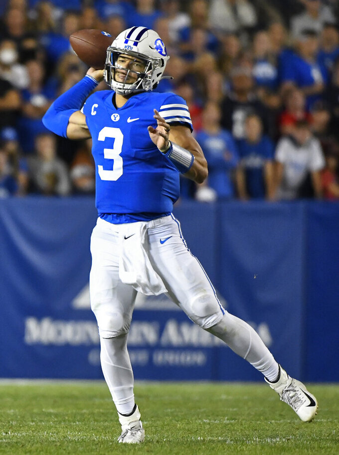 Brigham Young quarterback Jaren Hall (3) throws a pass during the first half of an NCAA college football game against Utah Saturday, Sept. 11, 2021, in Provo, Utah. (AP Photo/Alex Goodlett)