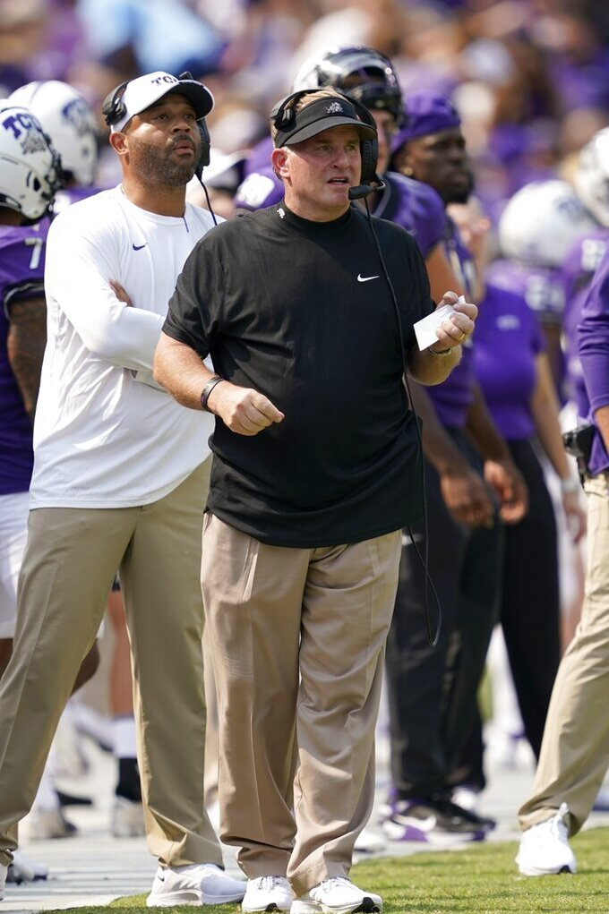 TCU head coach Gary Patterson watches play against California in the first half of an NCAA college football game in Fort Worth, Texas, Saturday, Sept. 11, 2021. (AP Photo/Tony Gutierrez)