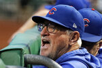 Chicago Cubs manager Joe Maddon yells from the dugout before the team's baseball game against the Pittsburgh Pirates in Pittsburgh, Tuesday, Sept. 24, 2019. (AP Photo/Gene J. Puskar)