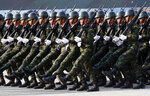 Thai soldiers parade during the Royal Thai Armed Forces Day ceremony at a military base in Bangkok, Thailand, Friday, Jan. 18, 2019. (AP Photo/Sakchai Lalit)