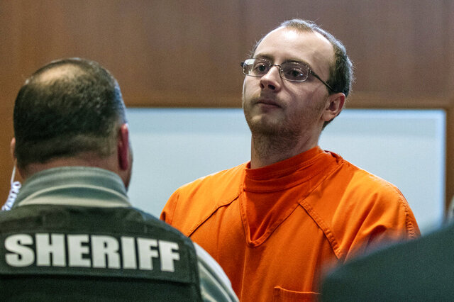 FILE- In this March 27, 2019, file photo, Jake Patterson appears for a hearing at the Barron County Justice Center, in Barron, Wis. Patterson could spend the rest of his life behind bars for kidnapping 13-year-old Jayme Closs and killing her parents. Jayme Closs was 13 when she disappeared from her home outside Barron in western Wisconsin on Oct. 15, 2018. Her parents, James and Denise Closs, were gunned down. Jayme's disappearance was a mystery until the following January, when she escaped from a rural cabin in northwestern Wisconsin. (T'xer Zhon Kha/The Post-Crescent via AP, File)