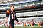 Cincinnati Bengals quarterback Andy Dalton walks off the field after an NFL football game against the San Francisco 49ers, Sunday, Sept. 15, 2019, in Cincinnati. (AP Photo/Gary Landers)