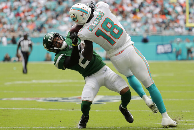 Miami Dolphins wide receiver Preston Williams (18) completes the pass against New York Jets cornerback Darryl Roberts (27) during the first half of an NFL football game, Sunday, Nov. 3, 2019, in Miami Gardens, Fla. (AP Photo/Lynne Sladky)