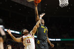 Baylor guard Devonte Bandoo (2) shoots over Iowa State guard Prentiss Nixon (11) during the second half of an NCAA college basketball game Wednesday, Jan. 29, 2020, in Ames, Iowa. Baylor won 67-53. (AP Photo/Charlie Neibergall)