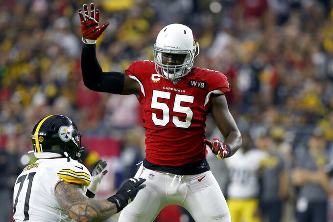Arizona Cardinals linebacker Chandler Jones (55) battles Pittsburgh Steelers offensive tackle Matt Feiler during the first half of an NFL football game, Sunday, Dec. 8, 2019, in Glendale, Ariz. (AP Photo/Ross D. Franklin)