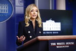 White House press secretary Kayleigh McEnany speaks during a news conference at the White House, Monday, June 1, 2020, in Washington. (AP Photo/Patrick Semansky)