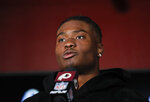 Washington Redskins quarterback Dwayne Haskins (7) speaking during a news conference following an NFL football game against the Philadelphia Eagles, Sunday, Dec. 15, 2019, in Landover, Md. Eagles won 37-27.(AP Photo/Alex Brandon)