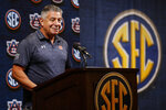 Auburn head coach Bruce Pearl speaks during the Southeastern Conference NCAA college basketball media day, Wednesday, Oct. 16, 2019, in Birmingham, Ala. (AP Photo/Butch Dill)