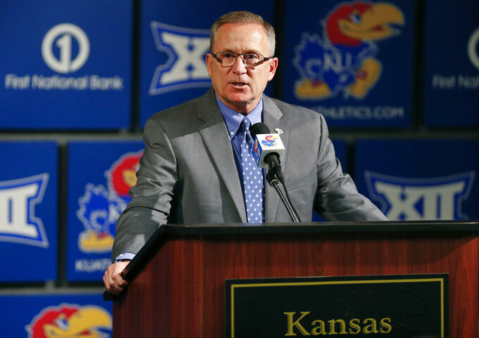 Kansas Athletic Director Jeff Long discusses the decision to fire head football coach David Beaty during a news conference on Sunday, Nov. 4, 2018, in Lawrence, Kan. (Chris Neal/The Topeka Capital-Journal via AP)