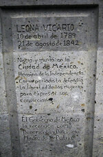 The base that holds the statue of independence hero Leona Vicario has an inscription in Spanish that reads